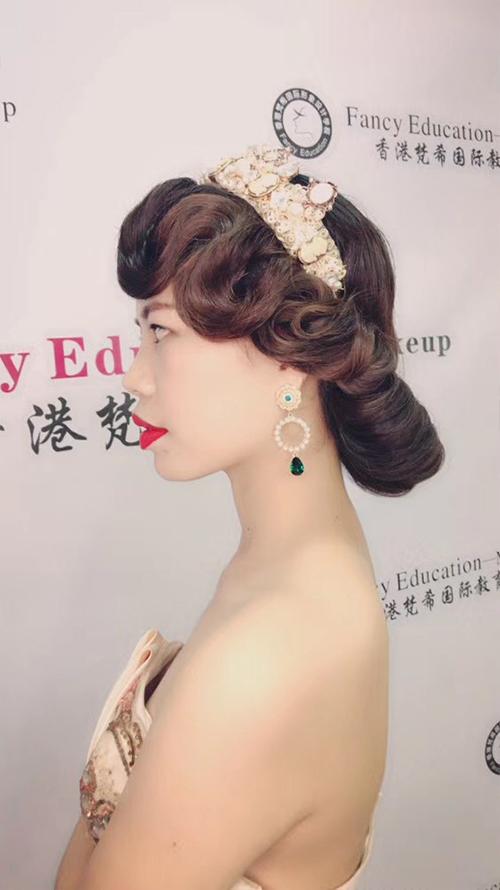 深圳梵希化妆造型培训-发型教程作品-复古红毯造型2