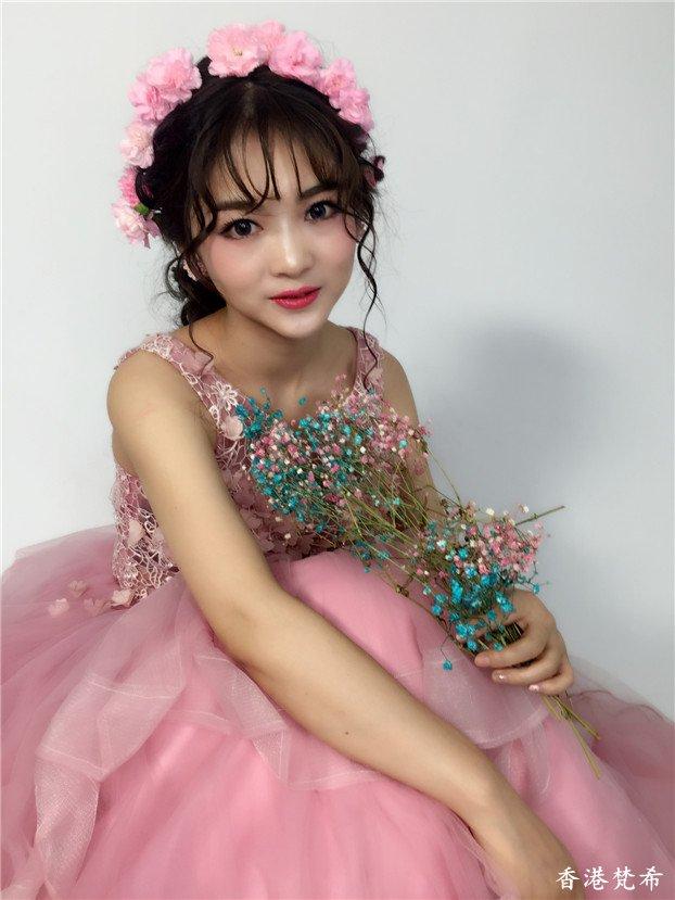 粉红甜美新娘造型作品3