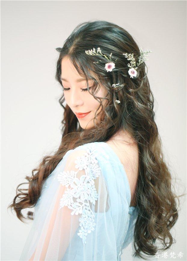 唯美浅蓝新娘造型作品
