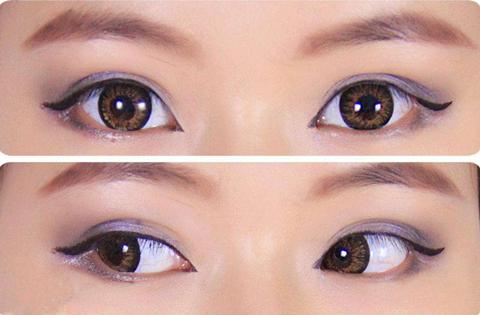涂一层薄薄眼线膏画出珠光眼影效果